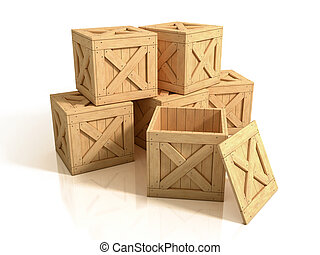 wooden crates isolated - old, isolated, dirty, delivery, ...