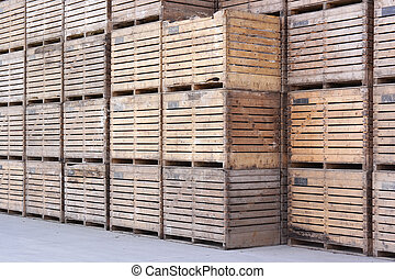 Wooden crates - Pile of wooden crates to storage of the...