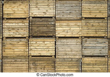 Stack of wooden potato crates