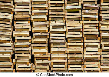 Wooden crates - Big pile of wooden crates for fruits