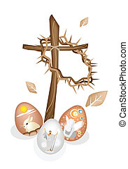 Wooden Cross and A Crown of Thorns with Easter Eggs -...