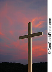 Wooden Cross and Sunset