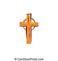 wooden cross catholic religious isolated icon