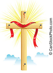 Wooden Cross - illustration of ribbon wrapped on wooden...