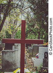 wooden cross in the cemetery
