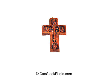 Wooden cross isolated on white back
