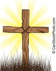 wooden cross on a grass