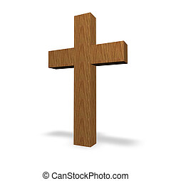 cross - wooden cross on a white background