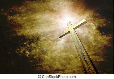 cross on dark sky