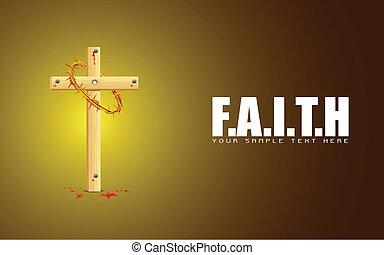 Wooden Cross on Faith Background - illustration of wooden...