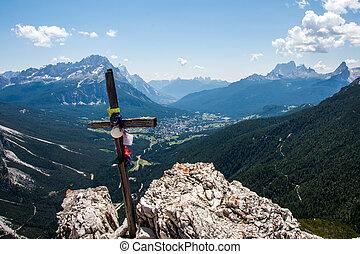 Wooden cross on mountain's top