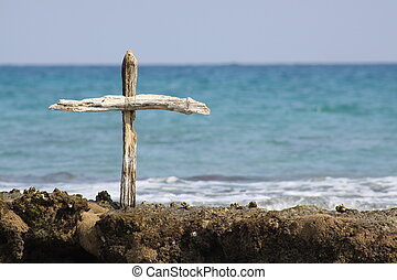 Wooden cross on Reef