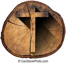 Wooden Cross on Tree Trunk - Wooden Christian cross on a...