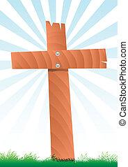 wooden cross - vector illustration of a wooden cross