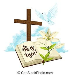 Wooden cross with bible, lily and dove. Happy Easter concept illustration or greeting card. Religious symbols of faith against clouds