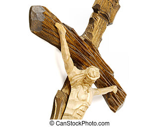 Wooden cross with Jesus Christ - Wooden carved cross with...