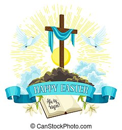 Wooden cross with shroud, bible and doves. Happy Easter concept illustration or greeting card. Religious symbols of faith