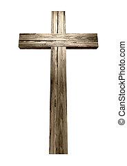 Wooden Crucifix - A wooden cross on an isolated background