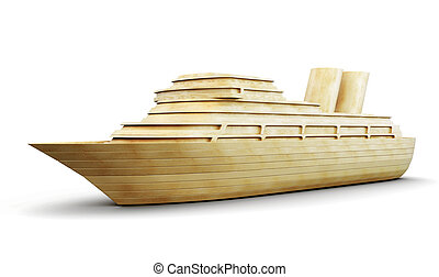 Wooden cruise liner isolated on white background. 3d.