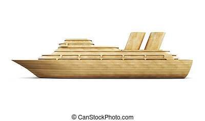 Wooden cruise liner side view. 3d.