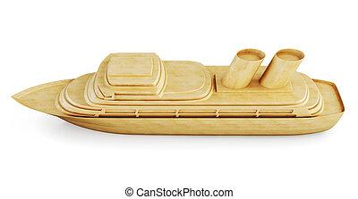 Wooden cruise ship. 3d.
