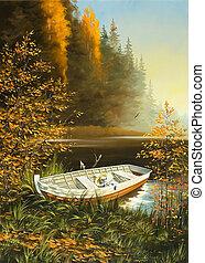 wooden csónakázik, képben látható, a, part, közül, tó