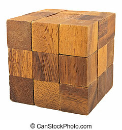 Wooden cube logical game isolated on white background