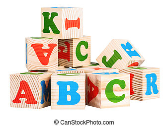wooden cubes. ABC