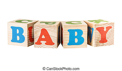 wooden cubes. Baby word