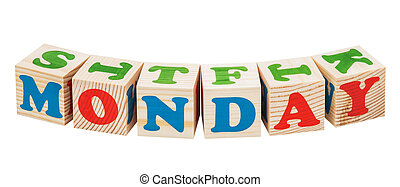 Wooden cubes. Days of the week. Monday word