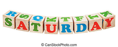 Wooden cubes. Days of the week. Saturday word