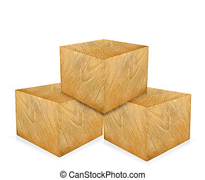 Wooden cubes isolated on a white.