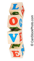 wooden cubes. Love word