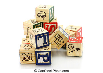 Wooden cubes on a white background