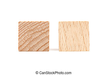 Wooden cubes on white background