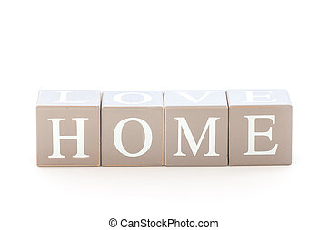 Wooden cubes wit the word home