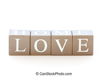 Wooden cubes wit the word love spelled