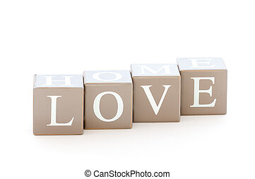 Wooden cubes wit the word love