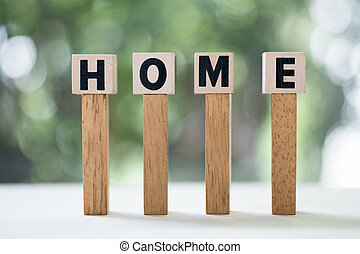 Wooden cubes with word home