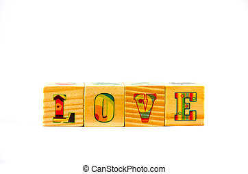 Wooden cubic on white background