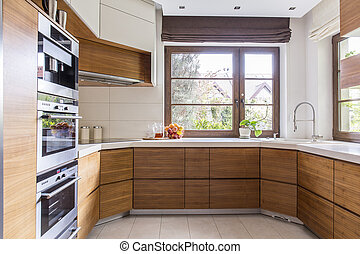 Wooden cupboards in new kitchen