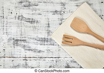 Wooden cutlery. View from above. For your design.