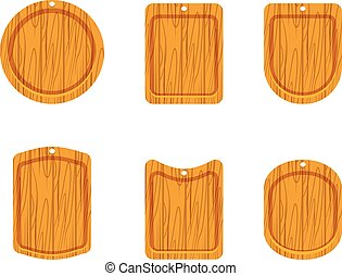 Wooden cutting board icon set of empty wooden cutting boards...