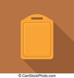 Wooden cutting board icon, flat style