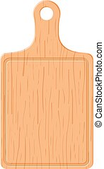 wooden cutting board on white background vector illustration