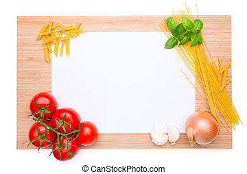 Wooden cutting board with knife and vegetables on it