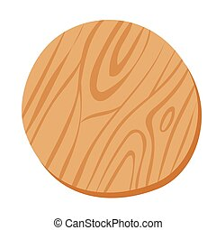 Wooden cutting pizza vector board isolated on white background