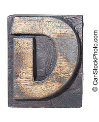detailed vintage wooden D letter typeface isolated
