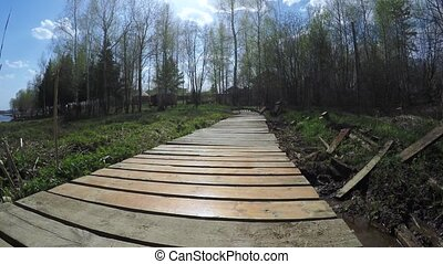 Wooden dais through swamp - Dynamic movement of the camera...