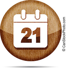 wooden date icon on a white